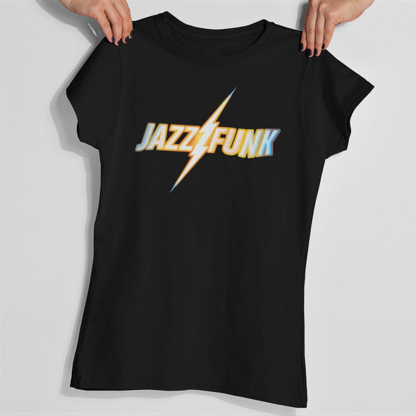 Womens hands holding a black t-shirt with 'Jazz Funk' retro slogan design featuring a lighting bolt in gradient colours.