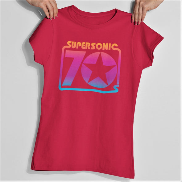 Red slim fit womens t-shirt with retro graphic print 'supersonic 70s'.