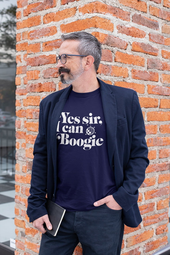 Yes Sir I Can Boogie - Officially Licensed - Scotland - Organic - Classic Fit Heavy T-Shirt - Navy - Mens