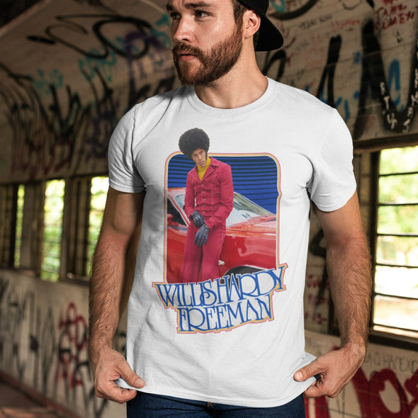 Cool hipster guy wearing a white t-shirt with retro design of black guy in a red suit.