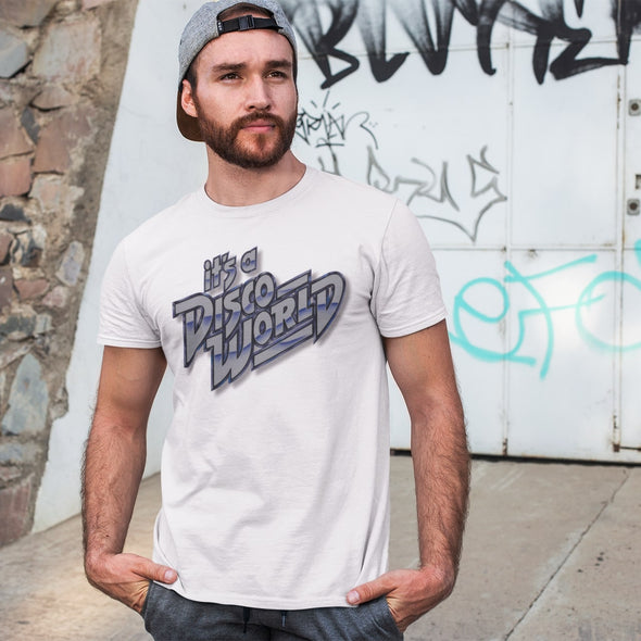 Cool guy wearing a white  t-shirt with 'it's a Disco World' silver graphic retro design print.