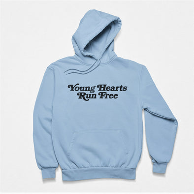 Classic Light Blue Hoodie with Retro-Style text 'Young Hearts Run Free' printed on chest in black