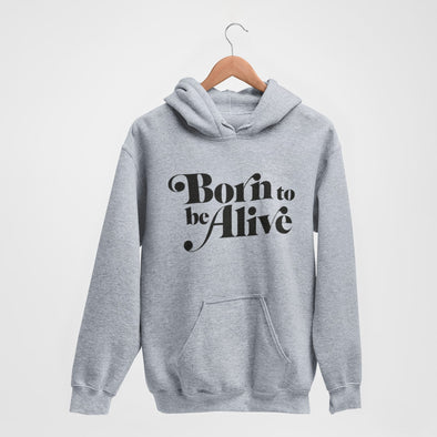 Born To Be Alive - Organic - Luxury Hoodie - Grey Marl - Mens