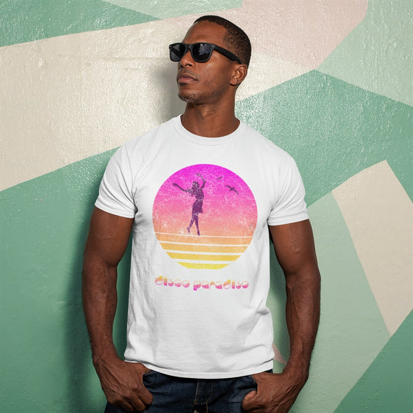 Muscular man wearing a white t-shirt with a distressed design of a lady dancing at sunset in colours..