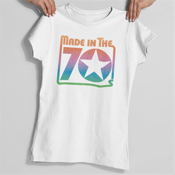 White a slim fit t-shirt with a bold 'Made in the 70's' rainbow gradient colour with a star in a retro design.