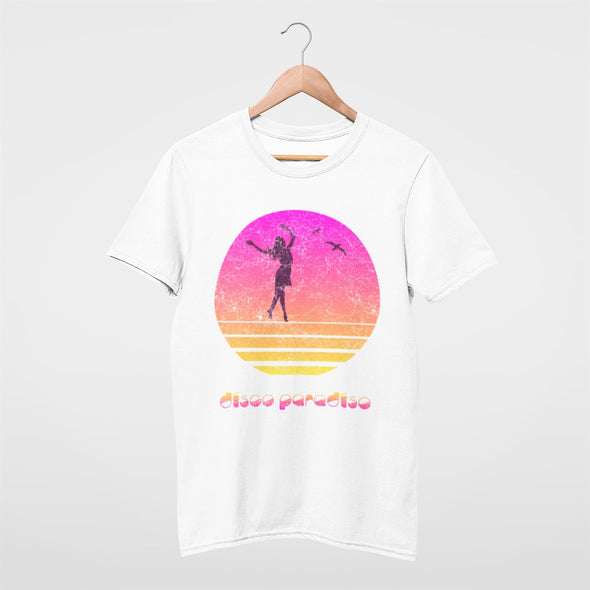 'Disco Paradiso' retro pastel colour design with a dancing lady at sunset on a slim fit mens t-shirt.