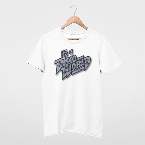 'Disco World' retro graphic on a white slim fit mens t-shirt.