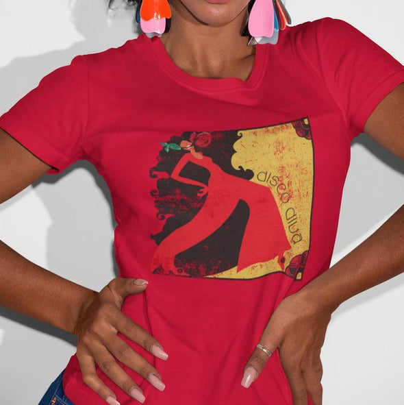 Young women wearing red t-shirt with print design of elegant dancing lady.
