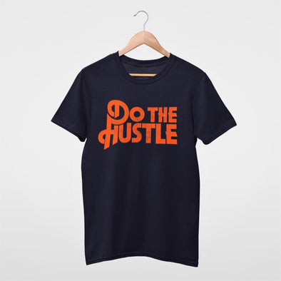 Disco Inspired Style 'Do The Hustle' Orange Print on Classic Navy T-shirt.