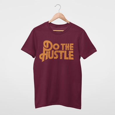 Vintage Style 'Do The Hustle' Logo in Mustard tone on Bergundy T-shirt.