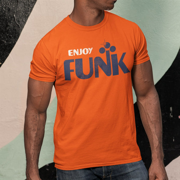 Muscle Man wearing 'Enjoy Funk' Disco-Style Graphic in White & Blue on Orange T-Shirt