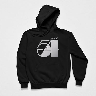 Black hoodie laid flat featuring a retro design '54' in metallic print.