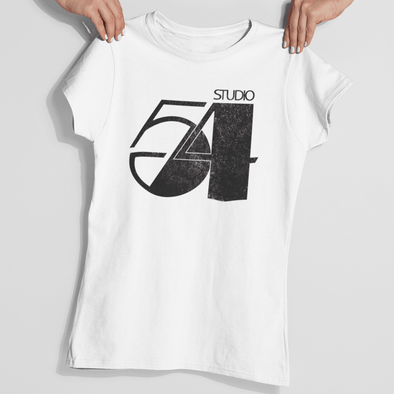 Womans hands holding a 70s style white t-shirt with 'Studio 54' retro slogan design in black.