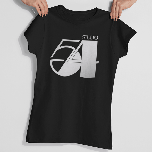 Womans hands holding a 70s style black t-shirt with 'Studio 54' retro slogan design in silver.