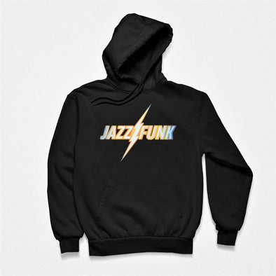 Black hoodie with 'Jazz Funk' rainbow coloured retro slogan design.