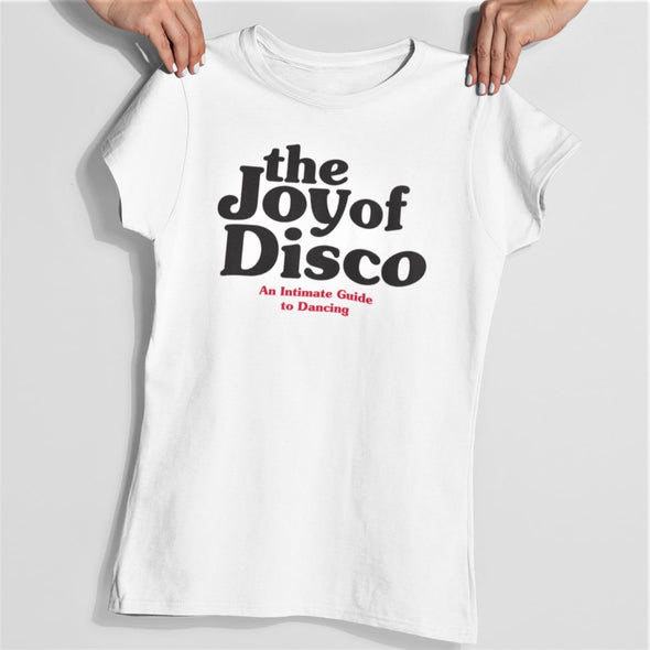 White womens seventies style slim fit T-shirt with a 'The Joy of Disco' logo design in black.