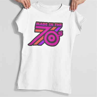 Retro 1970s multi colour graphic printed on a womens white t-shirt.