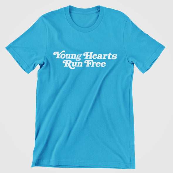 Classic Azur T-shirt with Retro Styled Text 'Young Hearts Run Free' printed in white on chest