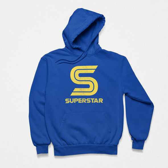 Blue hoodie laid flat with bright yellow letter 'S' and 'superstar retro style slogan print in centre.