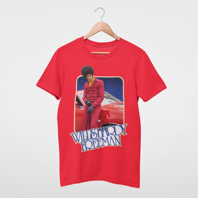 1970s design of kung-fu of an  afro guy printed on a red mens t-shirt.