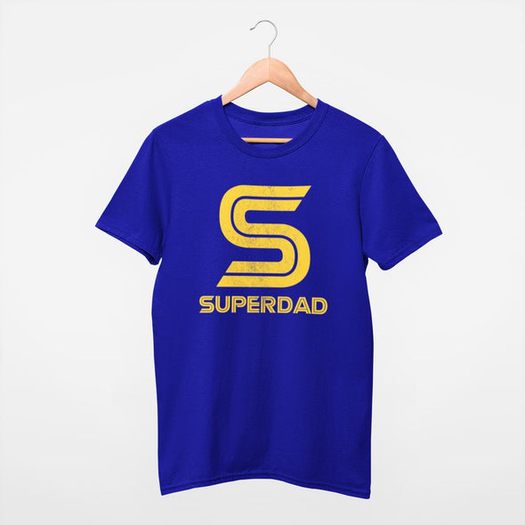 Blue mens t-shirt on hanger with bright yellow Superdad retro style slogan with a giant 'S' in the centre.