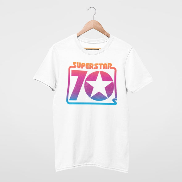 WHITE T SHIRT WITH SEVENTIES SUPERSTAR RETRO GRAPHIC IN RAINBOW COLOURS.