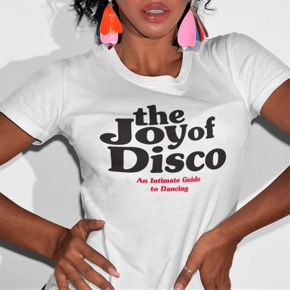 Funky attractive women wearing a white t-shirt with 'The Joy Of Disco' graphic design in black colour.