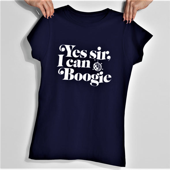 Navy blue womens slim fit t-shirt with white 'Yes Sir I Can Boogie' retro slogan in white.
