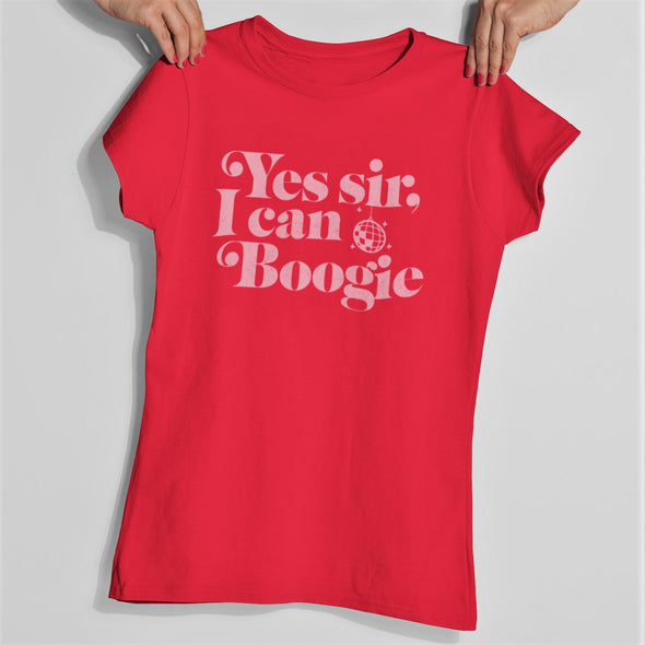 Red womens slim fit t-shirt with 'Yes Sir I Can Boogie' printed retro graphic in pink.