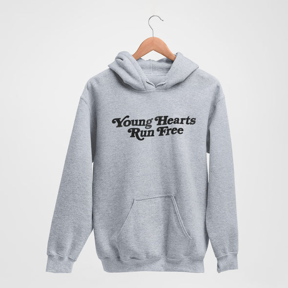 Classic Grey Marl Hoodie with Retro-Style text 'Young Hearts Run Free' printed on chest in black
