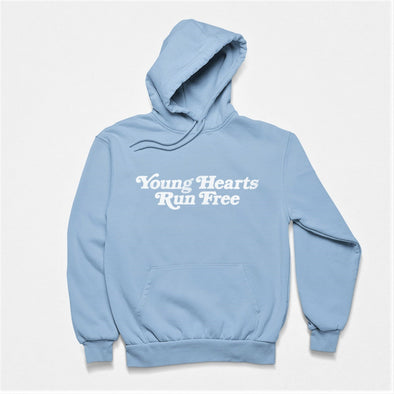Classic Light Blue Hoodie with Retro-Style text 'Young Hearts Run Free' printed on chest in white