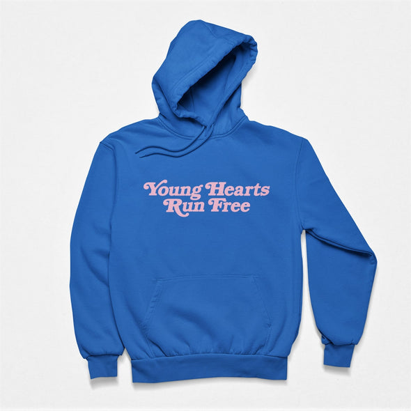 Classic Royal Blue Hoodie with Retro-Style text 'Young Hearts Run Free' printed on chest in pink