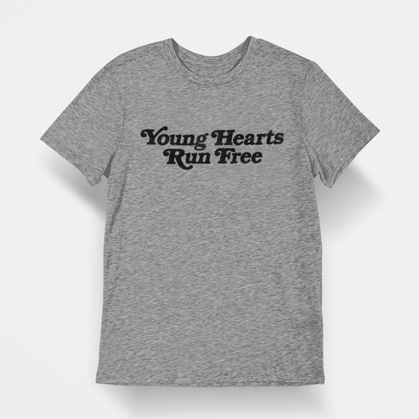 Classic Grey Marl T-shirt with Retro Styled Text 'Young Hearts Run Free' printed in black on chest