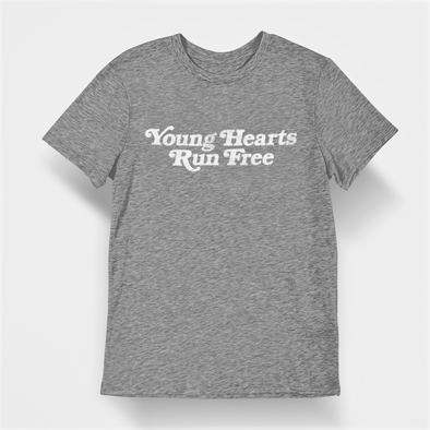 Classic Grey Marl T-shirt with Retro Styled Text 'Young Hearts Run Free' printed in white on chest