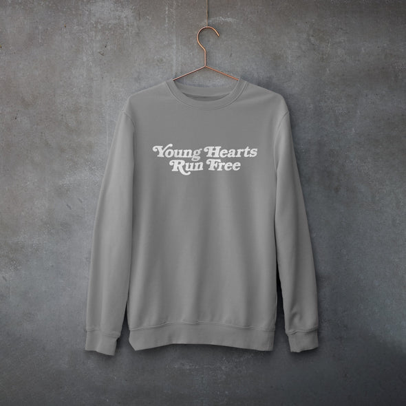 Grey Sweatshirt with a Disco style Slogan 'Young Hearts Run Free' printed in White