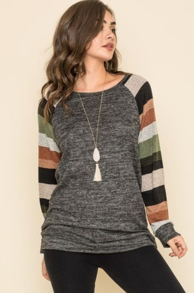 Olive Striped Sleeve Knit Raglan