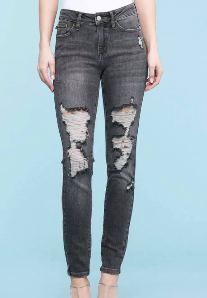 Judy Blue Vintage Black (Grey) Distressed Skinny Jeans