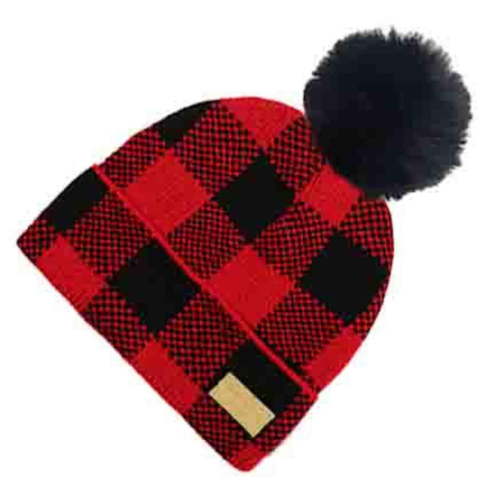 Buffalo Plaid Pom Hats (Red or White)