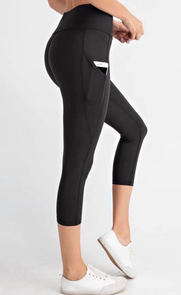 Black Pocket Capris