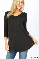 3/4 Sleeve V Neck Tunic