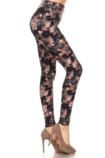 Grey Floral Leggings