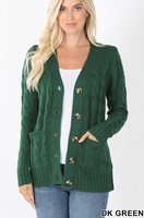 Cable Knit Button Up Cardigan (Mult. Colors Available)