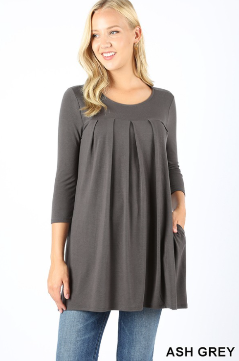 3/4 Sleeve Pleated Top
