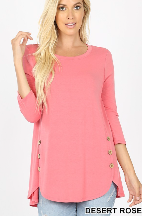 3/4 Sleeve Button Top