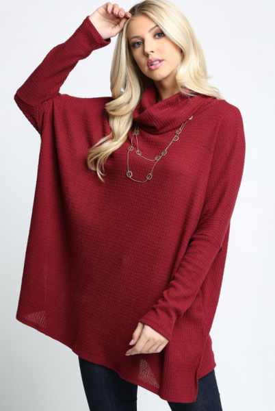 Oversized Dolman Waffle Knit Pullover