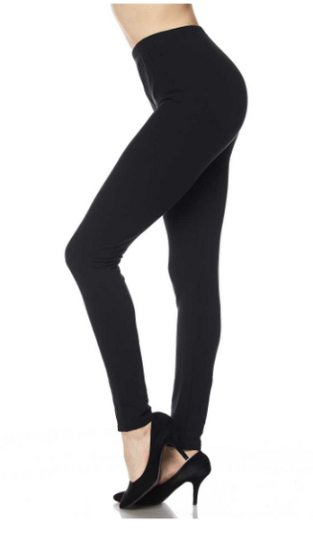 Regular Waist Band Black Leggings