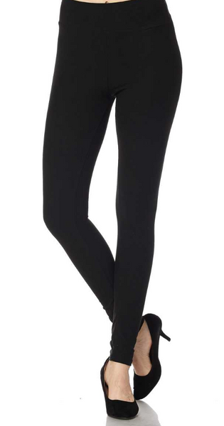 Solid Black Yoga Band Leggings