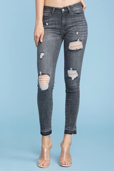 Judy Blue Dark Distressed Skinny Jeans