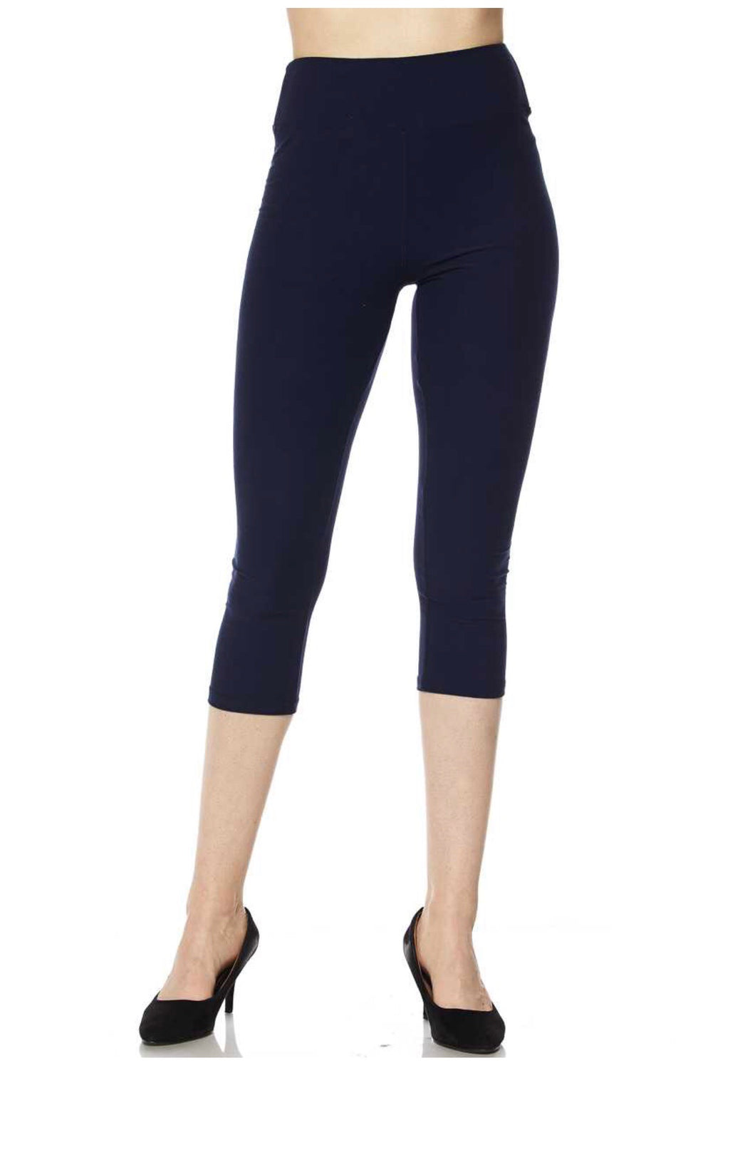 Navy Yoga Band Capris