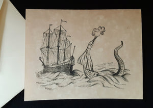 Note Cards - Ships/Maps with Sea Monsters - assorted options
